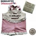 kit chaufferette + housse bouillotte peluche personnalisable Robe Dorlotte Doudou'adapt Viens te réchauffer rose à pois