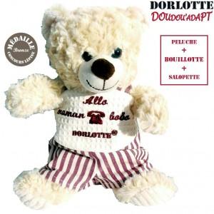 Peluche doudou bouillotte nounours blanc, ours en peluche bouillotte micro onde lavande blanc