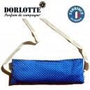 Housse bouillotte ceinture chauffante lombaire éco Dorlotte pour coussin chauffant dos bleu à pois