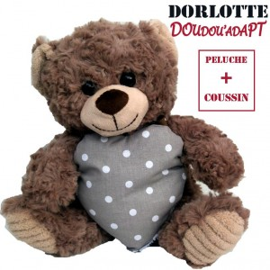Doudou bouillotte peluche ours brun : la peluche bouillotte nounours brun