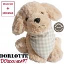 Doudou bouillotte peluche chien micro-ondes ( chien en peluche beige + bouillotte coeur à carreaux vichy beige )