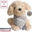 Doudou bouillotte peluche chien micro-ondes ( chien en peluche beige + bouillotte coeur à pois gris )