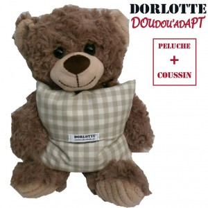 Dorlotte peluche bouillotte nounours brun ( ours en peluche + bouillotte déhoussable )
