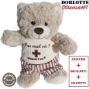 Peluche doudou bouillotte nounours gris, ours en peluche bouillotte micro onde lavande gris