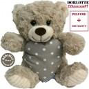 Nounours bouillotte peluche chauffante micro-ondes : ours en peluche gris + bouillotte coeur à pois gris