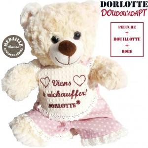 Doudou bouillotte peluche chauffante :bouillotte micro-onde +  peluche ours blanc + robe