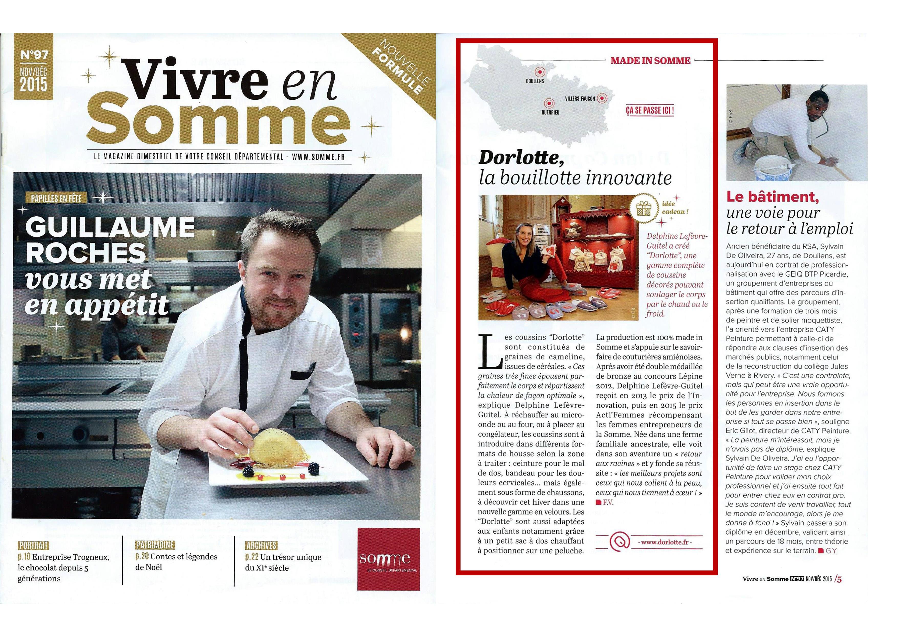 La bouillotte innovante Dorlotte sélectionnée par le magazine Vivre en Somme dans les idées de cadeaux de Noël