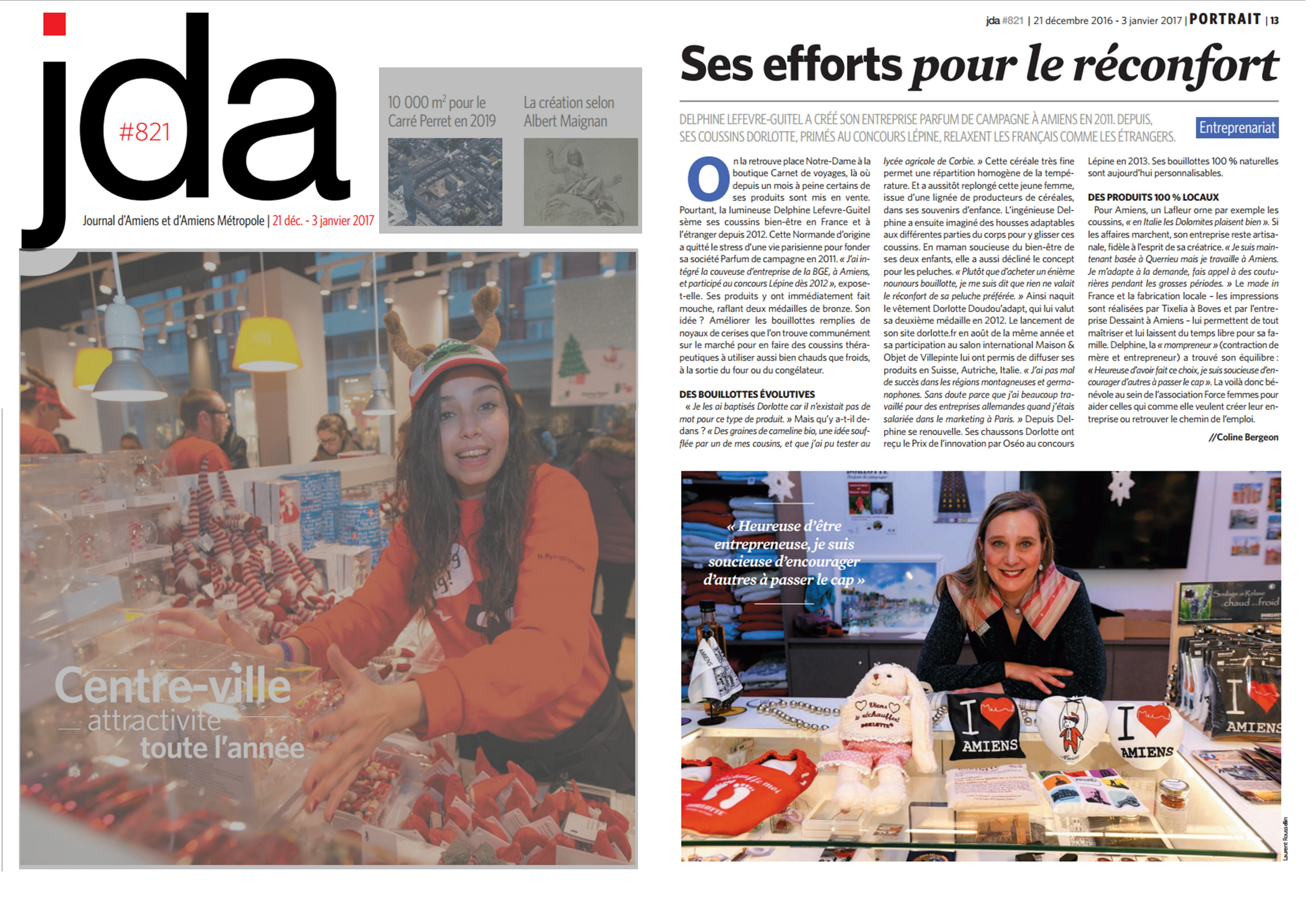 Article JDA sur les bouillottes made in Amiens