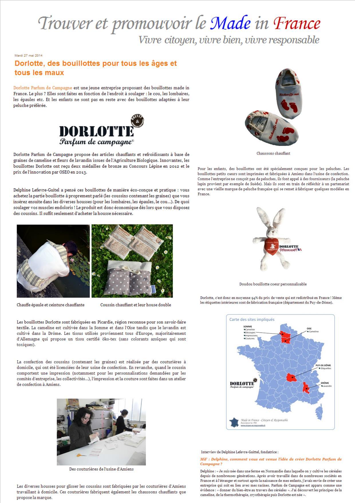 les bouillottes micro-ondes dorlotte made in  France sont sur le blog de Citoyen & Responsable