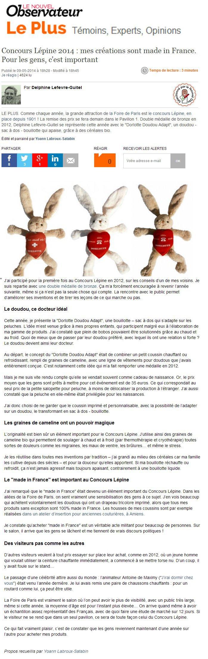 Retrouvez le doudou bouillotte peluche personnalisable dans Le nouvel observateur page plus du 9 mai 2014