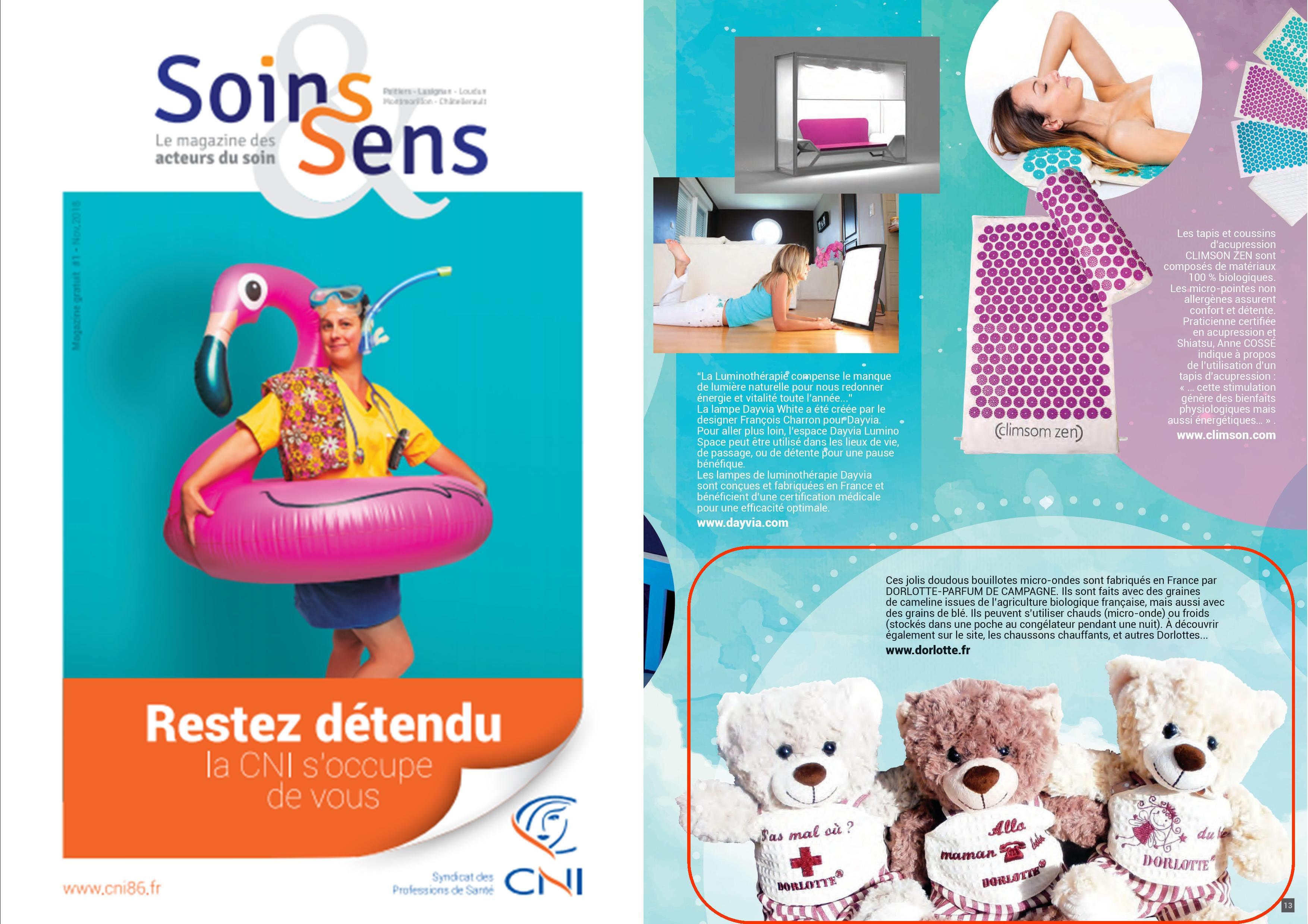 Le doudou bouillotte peluche chauffante dans le magazine des acteurs du soin Soins & Sens