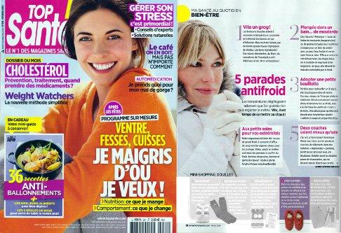 Les chaussons chauffants sont dans le magazine TOP SANTE N°281 de février 2014 !