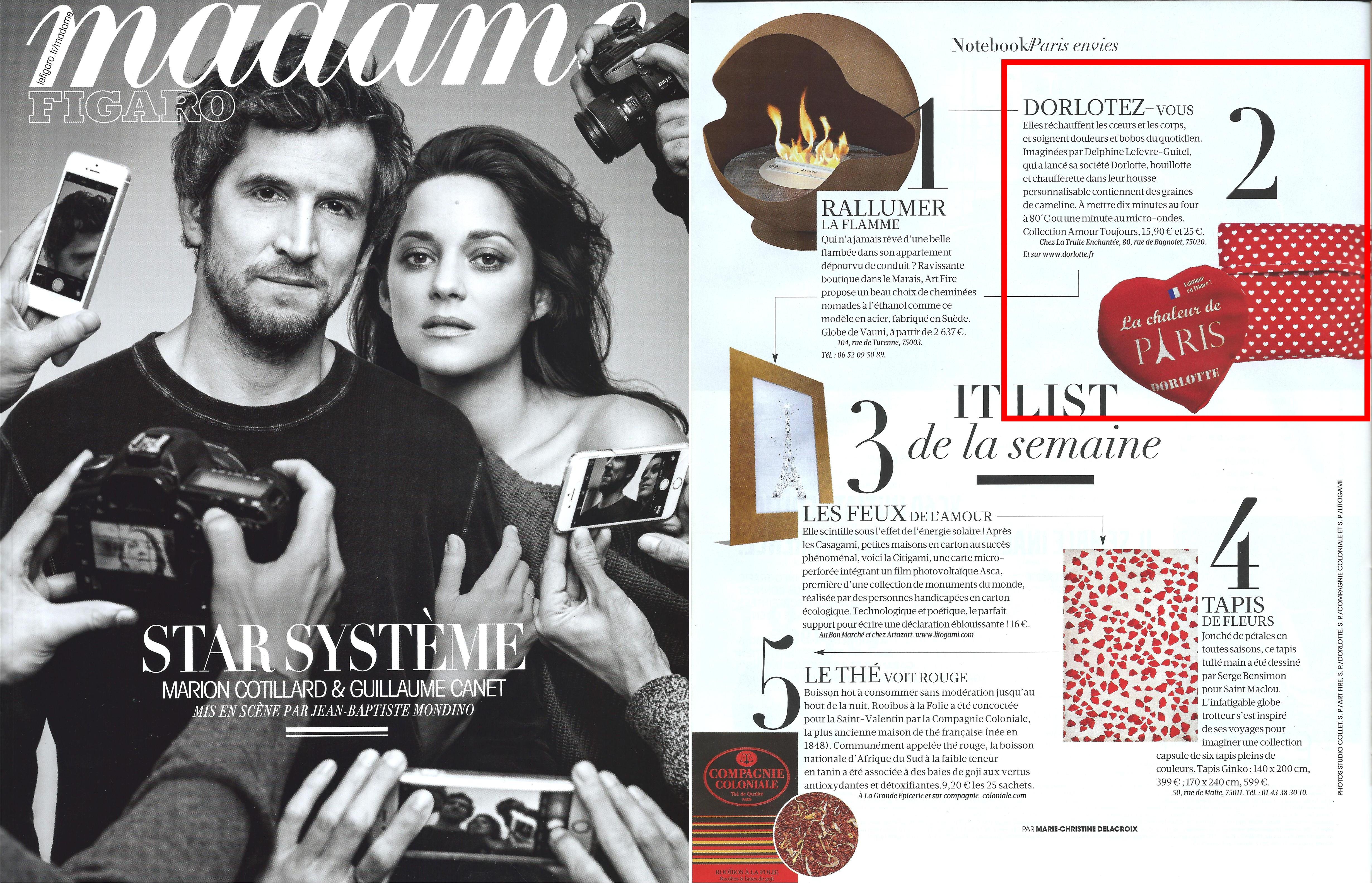 La bouillotte coeur Dorlotte dans un article de Madame Figaro