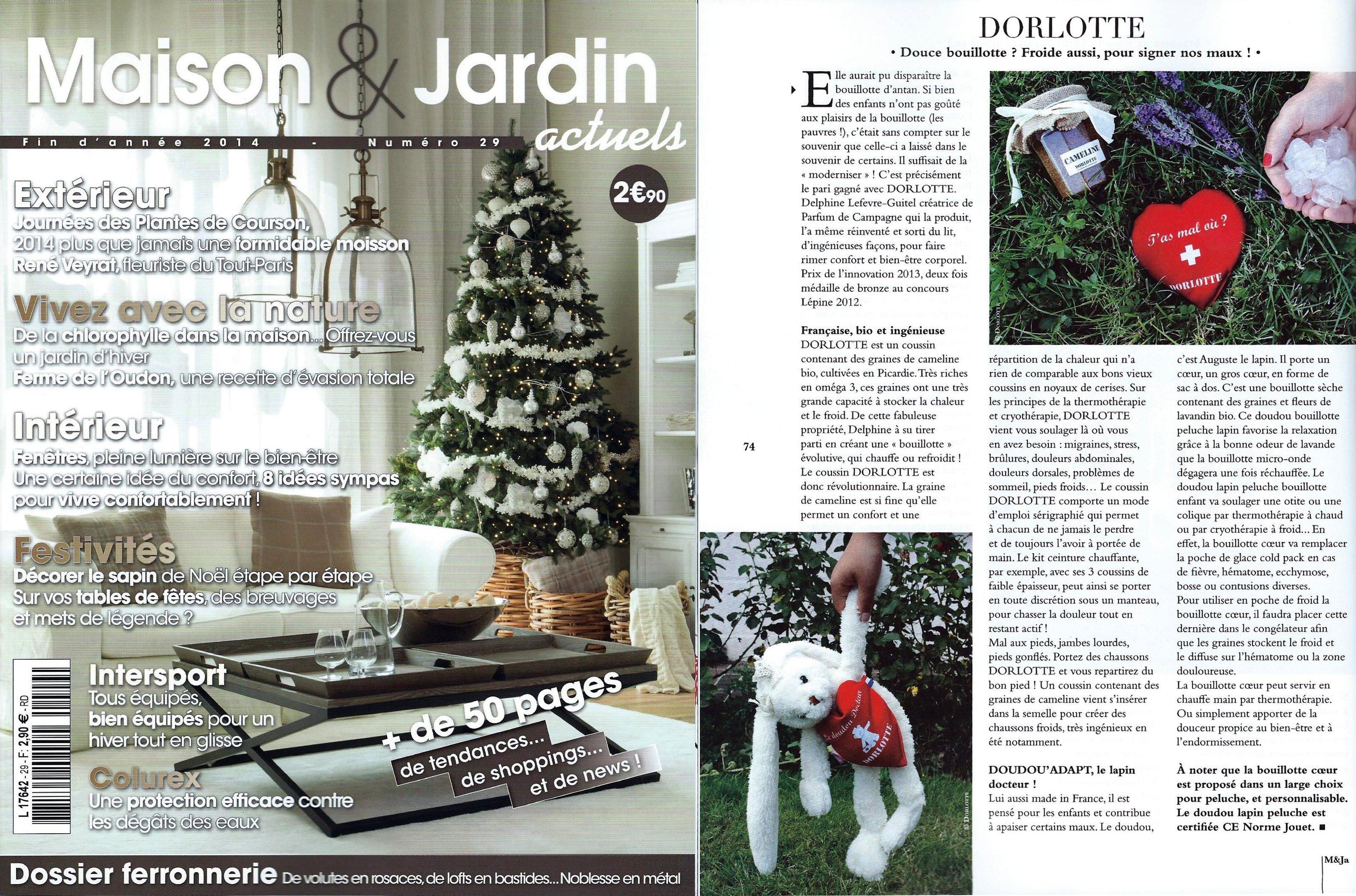 Les bouillottes micro-ondes Dorlotte sont à l'honneur dans le magazine Maison & Jardin actuels N°29 de cette fin d'année 2014