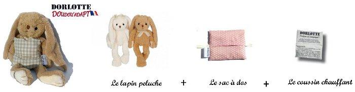 Le kit bouillotte peluche micro-onde : chaufferette + sac à dos + nounours