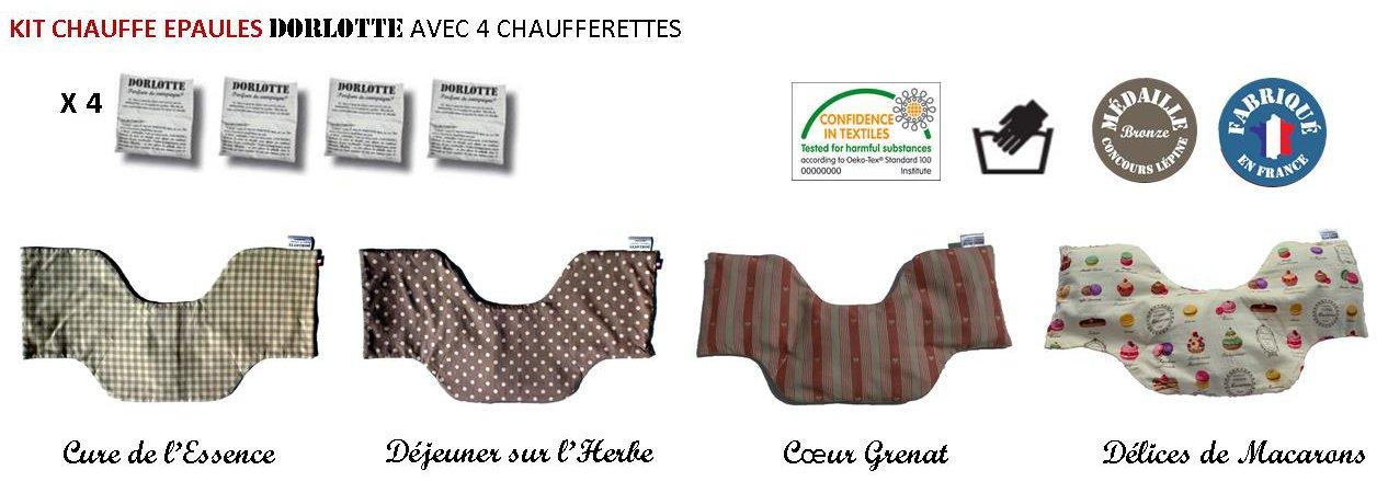 Notre gamme de housse bouillotte nuque pouvant contenir 4 chaufferettes Dorlotte