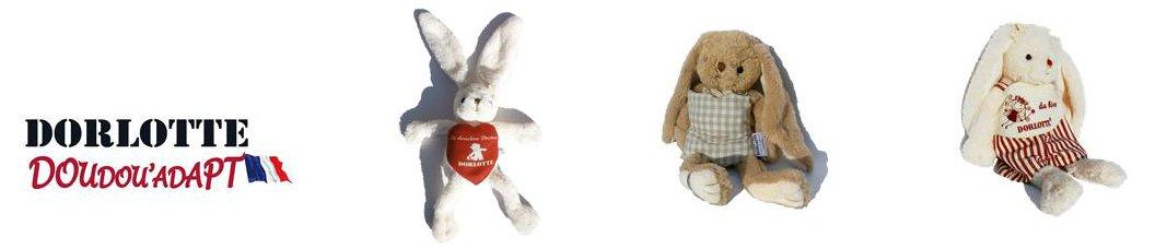 Notre gamme de peluche bouillotte lapin Dorlotte Doudou'Adapt